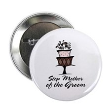 Groom Step Mother Wedding Party Button