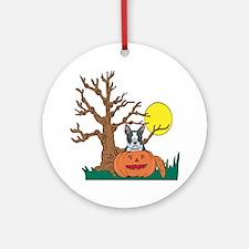 Pumpkin Boston Terrier Ornament (Round)