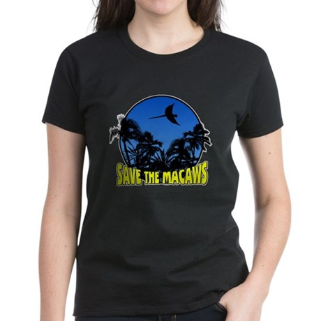 Blue Conservation Save Macaws Women's Black TShirt