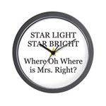 Where oh Where is Mrs. Right? Wall Clock