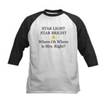 Where oh Where is Mrs. Right? Kids Baseball Jersey
