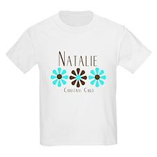 Natalie - Blue/Brown Flowers T-Shirt