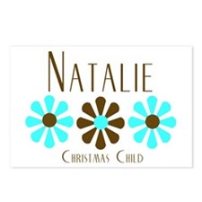 Natalie - Blue/Brown Flowers Postcards (Package of