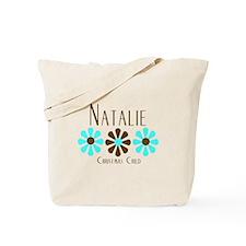 Natalie - Blue/Brown Flowers Tote Bag