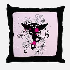 Grunge Chiro Caduceus Throw Pillow
