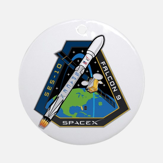 SES-10 Launch Team Round Ornament