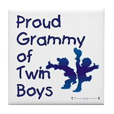 Proud Grammy of Twin Boys Tile Coaster