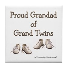 Proud Grandad of Grand Twins Tile Coaster