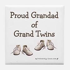 Proud Grandad of Grand Twins Tile Coaster