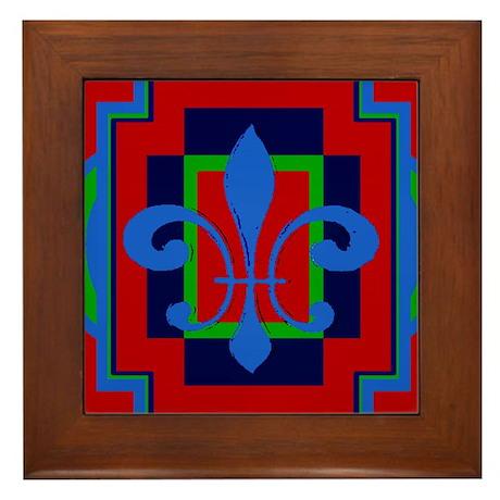 Fleur De Lis Art Deco 2 Framed Tile By Figstreetstudio