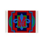 Fleur De Lis Art Deco 2 Rectangle Magnet (100 pack