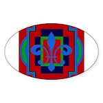 Fleur De Lis Art Deco 2 Oval Sticker (50 pk)