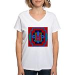 Fleur De Lis Art Deco 2 Women's V-Neck T-Shirt