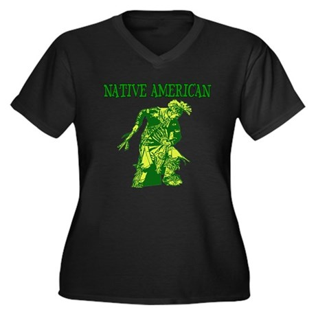 Native American Women's Plus Size V-Neck Dark T-Sh