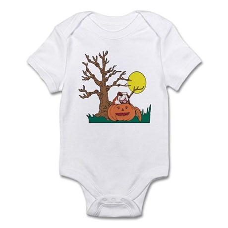 Halloween Pumpkin Bulldog Infant Bodysuit