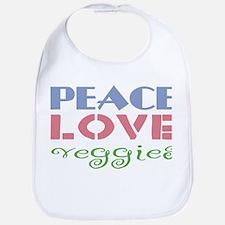 Peace Love Veggies Bib