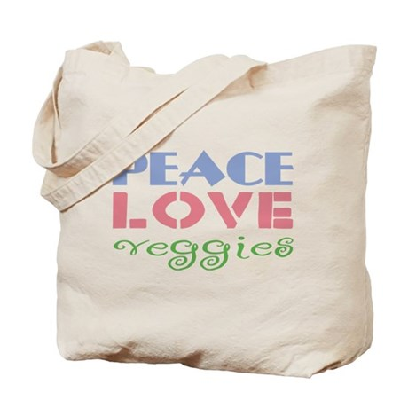 Peace Love Veggies Tote Bag