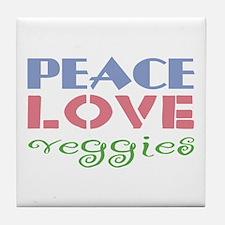 Peace Love Veggies Tile Coaster