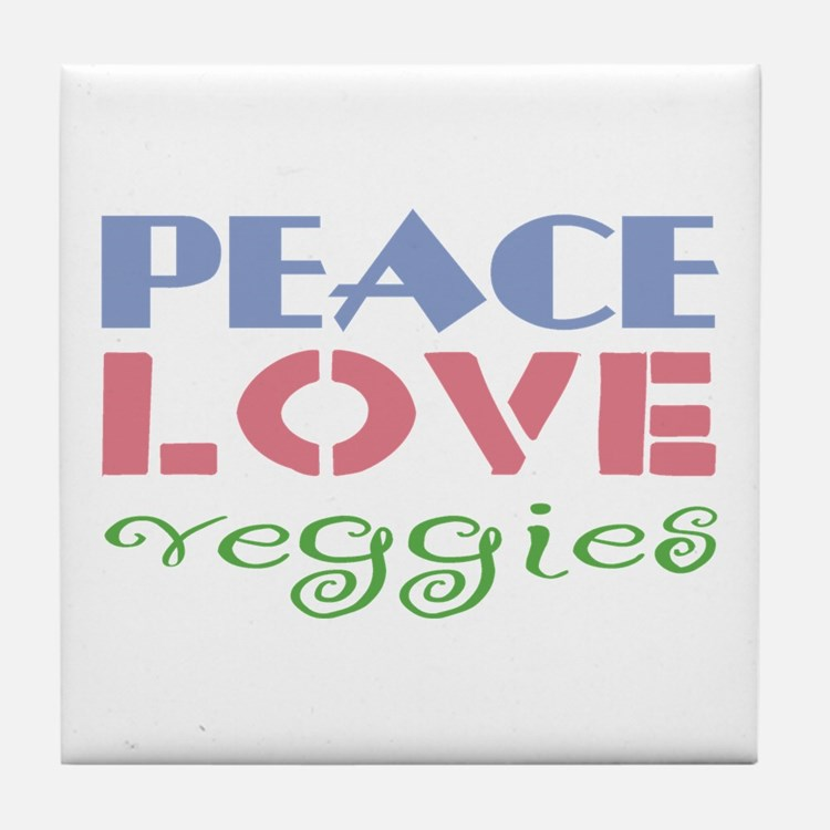 Peace Love Veggies Tile Coaster
