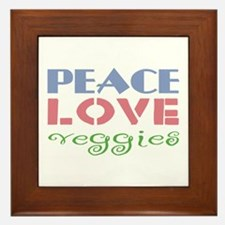 Peace Love Veggies Framed Tile
