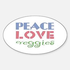 Peace Love Veggies Oval Decal