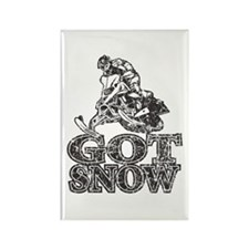 Got Snow Distressed black Rectangle Magnet