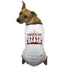 Firefighter Tribal Flames Dog T-Shirt