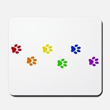 Rainbow paw prints Mousepad