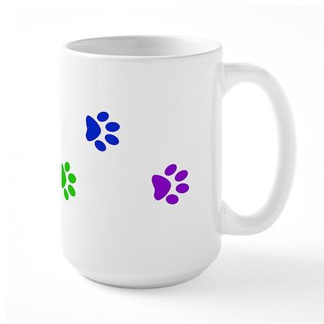 Rainbow paw prints Large Mug
