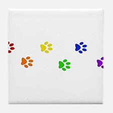 Rainbow paw prints Tile Coaster