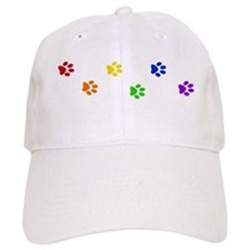 Rainbow paw prints Baseball Cap