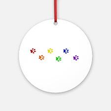 Rainbow paw prints Ornament (Round)