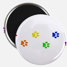 "Rainbow paw prints 2.25"" Magnet (10 pack)"
