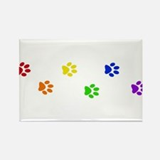Rainbow paw prints Rectangle Magnet