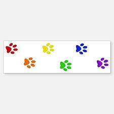 Rainbow paw prints Bumper Bumper Bumper Sticker