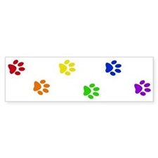 Rainbow paw prints Bumper Bumper Sticker