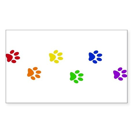 Rainbow paw prints Rectangle Sticker