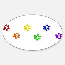 Rainbow paw prints Oval Bumper Stickers