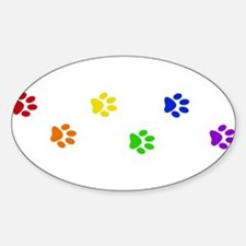 Rainbow paw prints Oval Decal