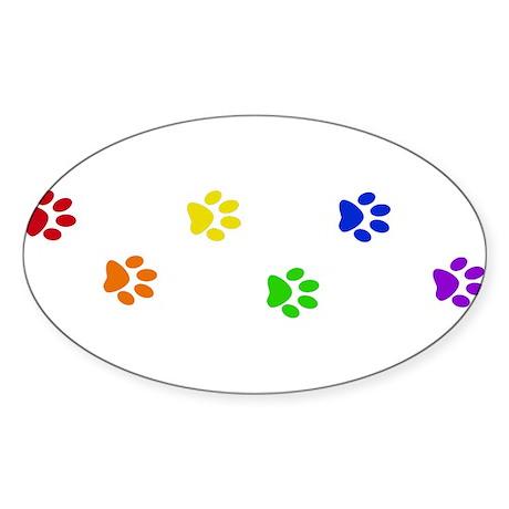 Rainbow paw prints Oval Sticker
