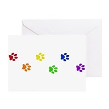 Rainbow paw prints Greeting Cards (Pk of 10)