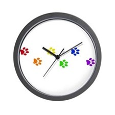 Rainbow paw prints Wall Clock