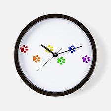 Rainbow paw prints Wall Clock