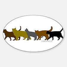 Earthtone cats Oval Decal