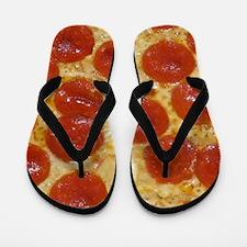 big pepperoni pizza Flip Flops