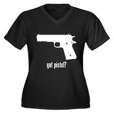 Pistol Women's Plus Size V-Neck Dark T-Shirt