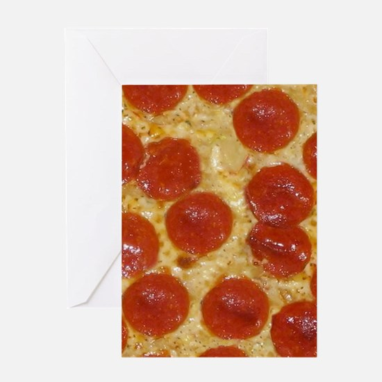 big pepperoni pizza Greeting Cards