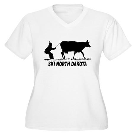 Ski North Dakota Women's Plus Size V-Neck T-Shirt