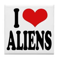 I Love Aliens (word) Tile Coaster