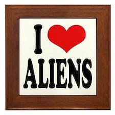I Love Aliens (word) Framed Tile